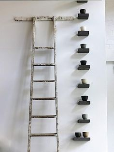 Best Useful Ideas: Floating Shelves Closet Woods floating shelves design joanna gaines.Floating Shelf Wall Interior Design floating shelves under tv.Floating Shelves Above Couch Pillows. Wabi Sabi, Living Haus, Living Room, Old Ladder, Antique Ladder, Home And Deco, Simple House, Floating Shelves, Small Shelves