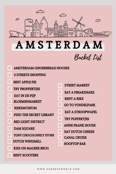 The ultimate Amsterdam bucket list full of the top things to do in Amsterdam. Travel to Amsterdam and do all the best things there are to do and see. From The Red Light District and beyond! Amsterdam Things To Do In, Visit Amsterdam, Amsterdam Travel, Europe Bucket List, Summer Bucket Lists, Travel Checklist, Travel List, Travel Advise, Amsterdam City Guide