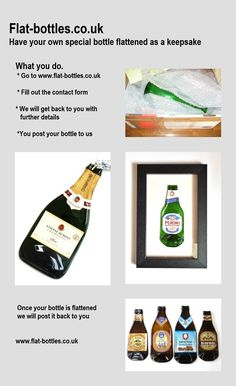 Have your own special bottle flattened to hang on your wall www.flat-bottles.co.uk