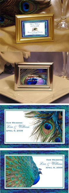 Peacock Wedding Favors | LMK Gifts Peacock Wedding lace card frames favors