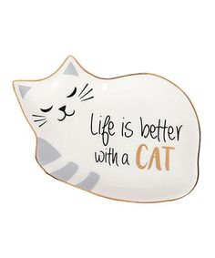 'Life is Better with a Cat' Dish #zulily #zulilyfinds