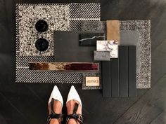 KWD - Beautiful colour inspiration featuring Albedor Faceline design, shades of grey. Color Inspiration, Interior Inspiration, Kate Walker, Material Board, St Kilda, Decorative Panels, Colour Board, Textures Patterns, House Colors