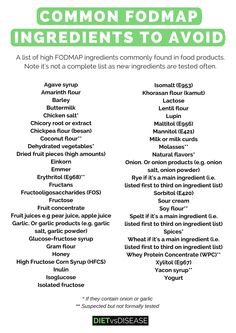 Certain high FODMAP ingredients are commonly added to food products. It's important you are aware of these if you are following a low FODMAP diet : https://www.dietvsdisease.org/high-fodmap-ingredients-list/