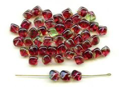 Green and Red Glass Cube Beads W German Vintage by PickleValentine, $5.00