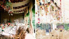 fleurs suspendues plafond