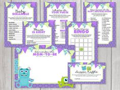 monsters inc baby shower games Monsters Inc Baby Shower, Monster Baby Showers, Baby Shower Games, Baby Shower Parties, Baby Boy Shower, Baby Ruth, Cheryl Baby, Monster Inc Party, Diaper Shower