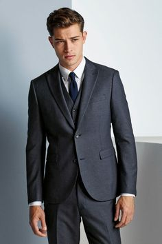 Next Blue Nep Fabric Skinny Fit Suit: Waistcoat