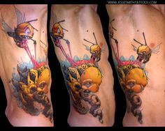 A cartoon graffiti tattoo design by Jesse Smith that depicts wasps eating a caterpillars brains