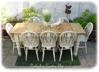 79. Huge Reclaimed Pine table and 8 Wheelback Chairs