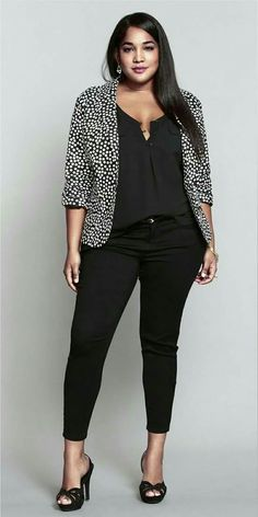 Trendy Outfits With Polka Dot Blazer For Plus Size Ladies