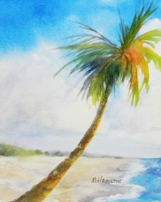 "Wall art, palm tree art, beach art, 10"" x 8"", ocean seascape, shoreline, deserted beach, Paradise Beach, original watercolor painting. $57.00, via Etsy."