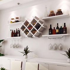 White Wall Mount Wine Rack Bottle Glass Holder 4 Shelves WHITE