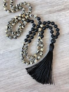 This article is not available Positivity + Mala + ~ + Dalmation + Stone + . This item is not available Positivity + Bad + ~ + Dalmation + Stone + # is Tassel Jewelry, Tassel Necklace, Beaded Jewelry, Jewelery, Fine Jewelry, Handmade Jewelry, Jewelry Making, Yoga Jewelry, Necklaces