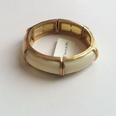 NWT Tahari Stretch Bracelet Ivory and gold tone stretch bracelet by Tahari. No trades. Generous discount with bundle. Tahari Jewelry Bracelets