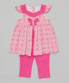 Kids Headquarters Pink Butterfly Tunic & Capri Leggings - Infant, Toddler & Girls | zulily