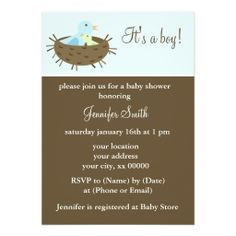 Mom and Baby Birds Baby Shower Personalized Announcements