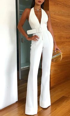 Halter Jumpsuit, White Jumpsuit, Halter Outfit, Jumpsuit Outfit, Latest Fashion For Women, Trendy Fashion, Womens Fashion, Feminine Fashion, 50 Fashion