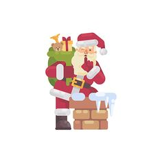 Santa Claus climbing into the chimney with a bag of presents. Christmas Scenes, Christmas Stuff, Christmas Ideas, Merry Christmas, Xmas, Character Flat, Flat Illustration, Illustrations, Simple Icon
