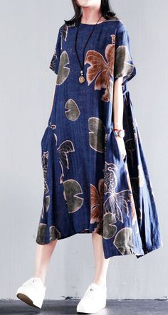 Original Navy floral print linen sundress plus size summer maxi dresses caftan gown