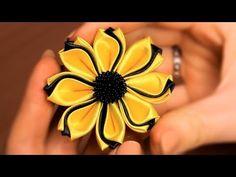 ▶ Цветок Канзаши из тройных лепестков / Мастер класс - YouTube