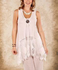 Another great find on #zulily! White Net Linen Sleeveless Top - Women & Plus #zulilyfinds