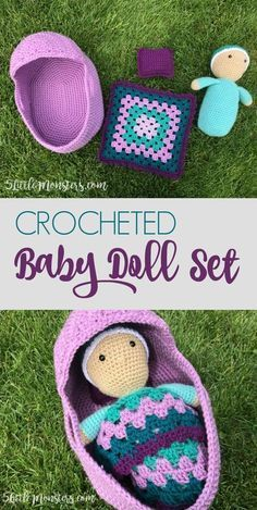 Free crochet pattern for a crocheted baby doll set that includes a baby doll, a moses basket style bed, a granny square blanket, and a pillow.