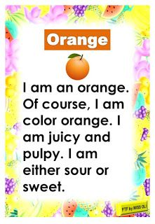 Reading passages about fruits. Fruits passages include banana, apple, watermelon, orange and grapes. Read and have fun with these colorful. English Poems For Kids, English Activities For Kids, English Worksheets For Kindergarten, Kindergarten Reading Activities, Learning English For Kids, English Lessons For Kids, Kids English, English Language Learning, Learn English Words