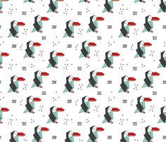 Origami paper art toucan parrot penguin birds geometric cross print gender neutral mint red  - fabric and wallpaper design by Little Smilemakers Studio at Spoonflower