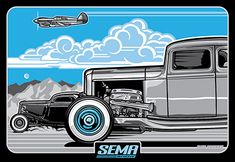 """Tri Power"" by Max Grundy for SEMA limited edition screen print."