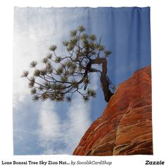 Lone Bonsai Tree Sky Zion Natl Park Shower Curtain - This colorful shower curtain is decorated with our original fine art photo of a single bonsai tree growing out of a red cliff in Zion National Park, Utah. It is highlighted by a beautiful blue sky. Original photograph by Alan Socolik. All Rights Reserved © 2015 Alan & Marcia Socolik.