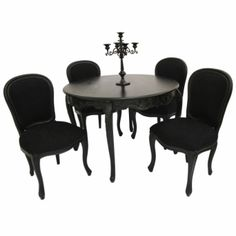 French Style Furniture Black Dining Room Table and 4 Chairs Designer Gothic in Antiques, Antique Furniture, Tables 48 Round Dining Table, Black Dining Room Table, French Dining Tables, Dining Table Chairs, Black Table, Dining Sets, Chef's Table, Black Chairs, Fine Dining