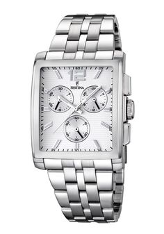 Festina F16755/1 Men's Watch Chronograph Square Stainless Steel Case Silver Dial