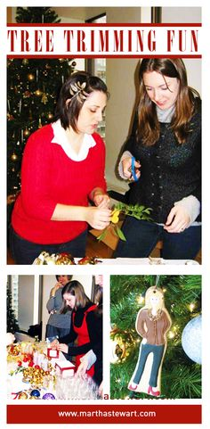 The MSLO team trims the tree with a smile.