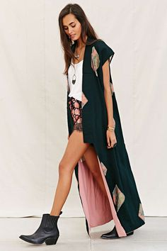 Urban Renewal Recycled Sleeveless Kimono Jacket