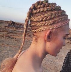 "Close up of the Spiral #braids I created in #Grimes new video ""Go"" ! (via instagram)"