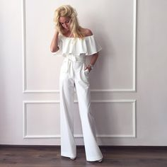 White Off Shoulder Ruffle Jumpsuit