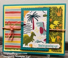 My grandson is turning 1. I used Dinoroar and Bird Ballad Designer Series Paper from Stampin' Up!  Check out my tutorial on my YouTube channel.