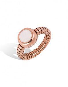 Anel de prata rosa com madrepérola. Anel de prata da linha Dalmasi, modelo redondo, combina na perfeição com todos os outros modelos.