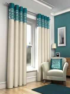 teal curtains Okay, if I get someone that sews, then here is an option: make me 1 set of curtains with teal and white, and don't get me anything else. I have no curtains in my living room and I really need them. Just an option to think about :) Ready Made Eyelet Curtains, Teal Curtains, Home Curtains, Colorful Curtains, Lengthen Curtains, Decorative Curtains, Lined Curtains, Rideaux Design, Interior Decorating