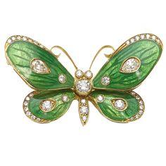 Green Enamel Diamond Gold Butterfly Brooch