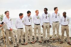 48 Adorable Beach Wedding Groomsmen Ideas To Try Asap Groomsmen Attire Khaki, Groomsmen Attire Beach Wedding, Khaki Wedding, Casual Groom Attire, Casual Wedding Attire, Beach Wedding Outfits For Guys, Marie, White Shirts, Blue Shirts