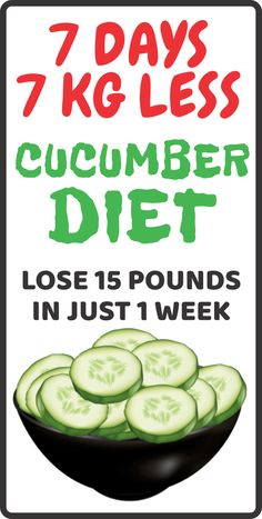 Cucumber Diet- Lose 15 Pounds in 7 Days – The Best Health Magazine Cucumber Drink, Cucumber Smoothie, Cucumber Plant, Cucumber Cleanse, Cucumber Salad, Losing Weight Tips, How To Lose Weight Fast, Weight Loss, Weight Gain
