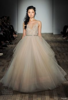 lazaro fall 2017 bridal spagetti strap v neck heavily embellished bodice tulle skirt champagne color romantic ball gown a  line wedding dress open v back chapel train (14) mv -- Lazaro Fall 2017 Wedding Dresses