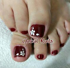 Pedicure Designs, Pedicure Nail Art, Toe Nail Designs, Toe Nail Art, Fall Pedicure, Pretty Toe Nails, Cute Toe Nails, Simple Nail Art Designs, Easy Nail Art