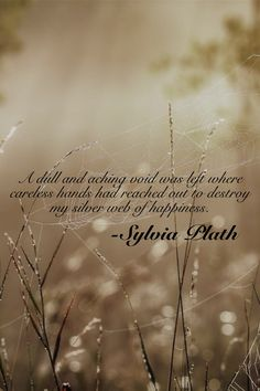"""""""A dull and aching void was left where careless hands had reached out to destroy my silver web of happiness"""" -Sylvia Plath Beautiful Poetry, Beautiful Words, Great Quotes, Me Quotes, Writer Quotes, Qoutes, Sylvia Plath Quotes, Funny Thoughts, Dark Thoughts"""