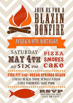 free bonfire invitations | free party invitations, summer bonfire, Party invitations