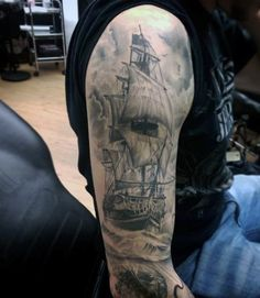 Old School Pirate Ship Male Tattoos