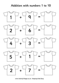 Football shirts addition 1 to Maybe add stripes to the sleeves to model addition. Football shirts addition 1 to Maybe add stripes to the sleeves to model addition. English Worksheets For Kindergarten, Kindergarten Math Worksheets, Preschool Learning, Worksheets For Kids, Preschool Activities, Addition Worksheets, Kids Learning Alphabet, Phonics Song, Math Addition