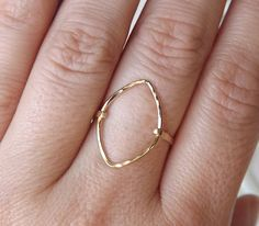 Hammered Long Marquise Gold Filled Ring Gold by BellatrinaJewelry