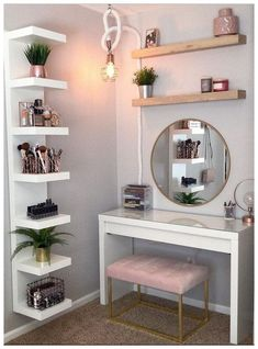 8 effortless DIY ideas to make up your personality.- 8 mühelose DIY-Ideen, um Make-up nach Ihrem Persönlichkeitstyp zu organisieren. M 8 effortless DIY ideas to organize make-up according to your personality type. M – up # Effortless - Apartment Decorating On A Budget, Diy Apartment Decor, Diy Home Decor, Apartment Therapy, Wood Home Decor, Apartment Interior Design, Living Room Interior, Diy Vanity, Vanity Mirrors